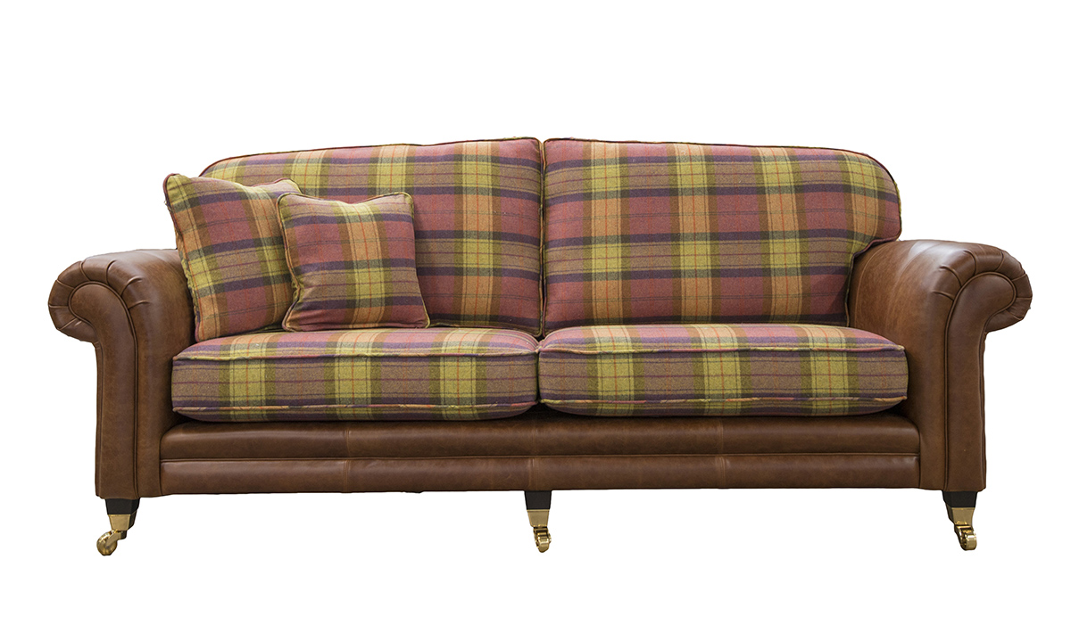 Grand Eloise Sofa,  Mustang Tan Leather & Wool Plaid Fruit Salad