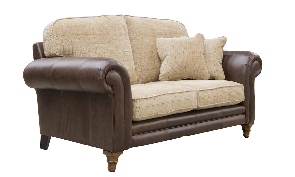 Eloise 2 Seater Sofa, Mustang Dark Brown Leather & JBrown Skye 4 Check