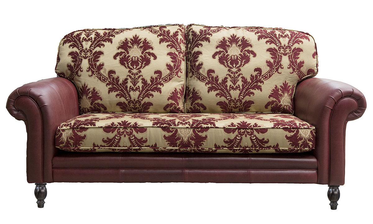 Eloise 2 Seater Sofa, Mustang Oxblood and Pendragon Pattern Merlot.
