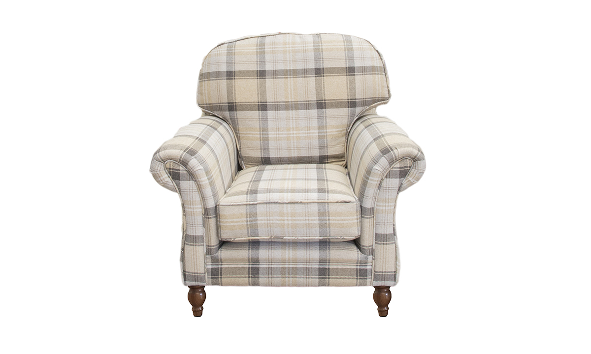 Elton Chair in  Aviemore Plaid Chocolate, Silver Collection Fabric