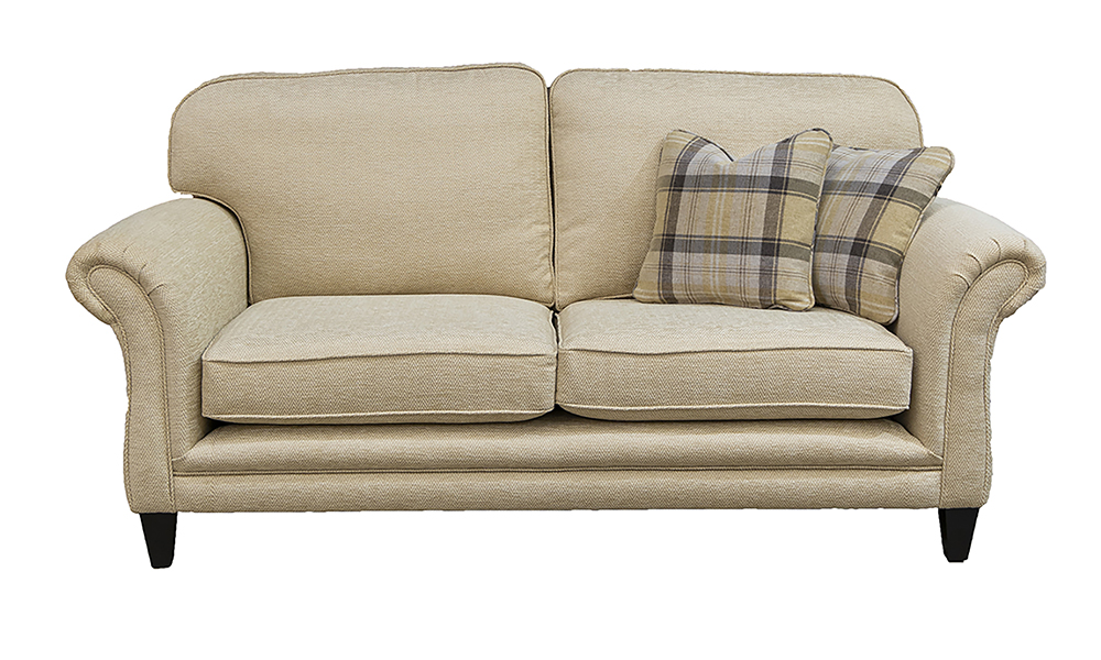Elton 3 Seater Sofa in Lenora Vanilla, Silver Collection Fabric