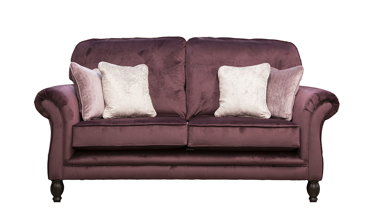 Elton 2 Seater Sofa in Luxor Aubergine, Silver Collection Fabric