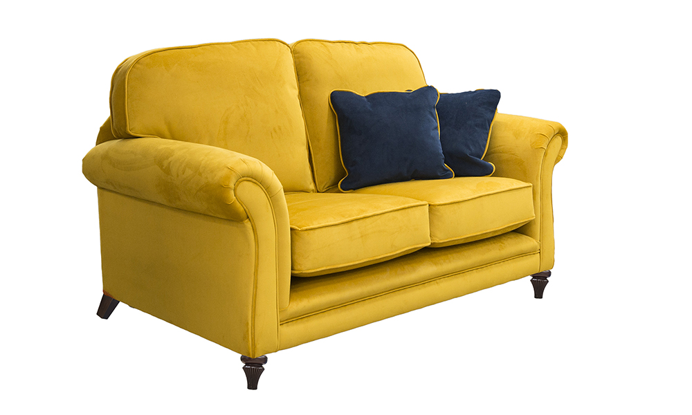 Elton 2 Seater Sofa in Plush Turmeric, Gold Collection Fabric