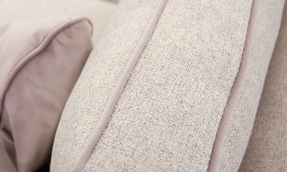 Zurich Back Cushion Detail  Light Grey, Bronze Collection, Pipped in Jbrown Amalfi Lilac, Gold Collection Fabric