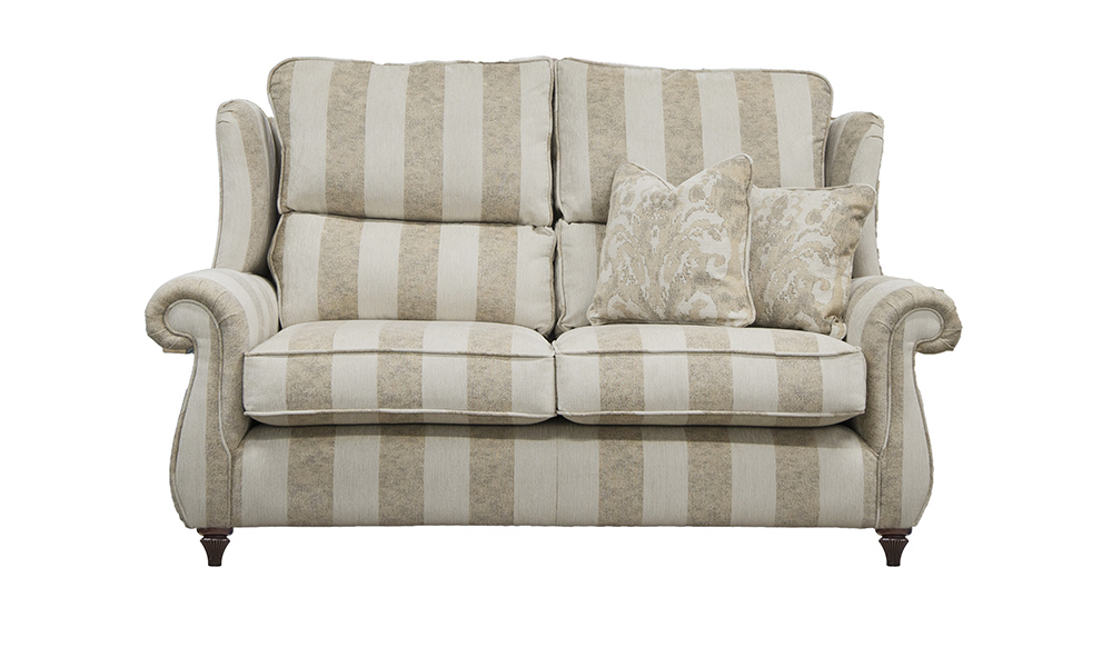 Grace Small Sofa in Fresco Stripe oatmeal, Silver Collection Fabric