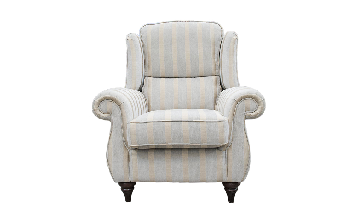 Greville Chair in  Burton Stripe Mist, Silver Collection Fabric