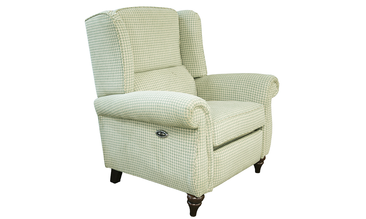 Greville Recliner Chair Motorised in Poppy Aqua Silver Collection of Fabrics