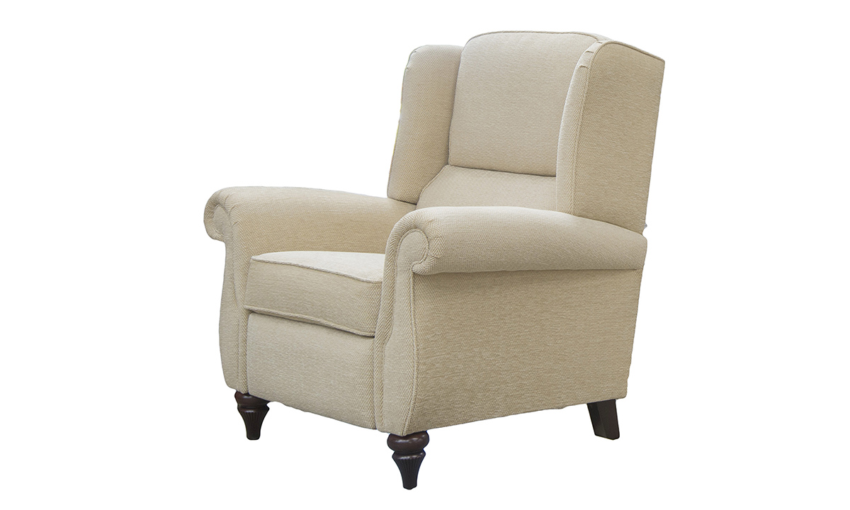 Greville Recliner Chair in Lenora Vanilla, Silver Collection Fabric