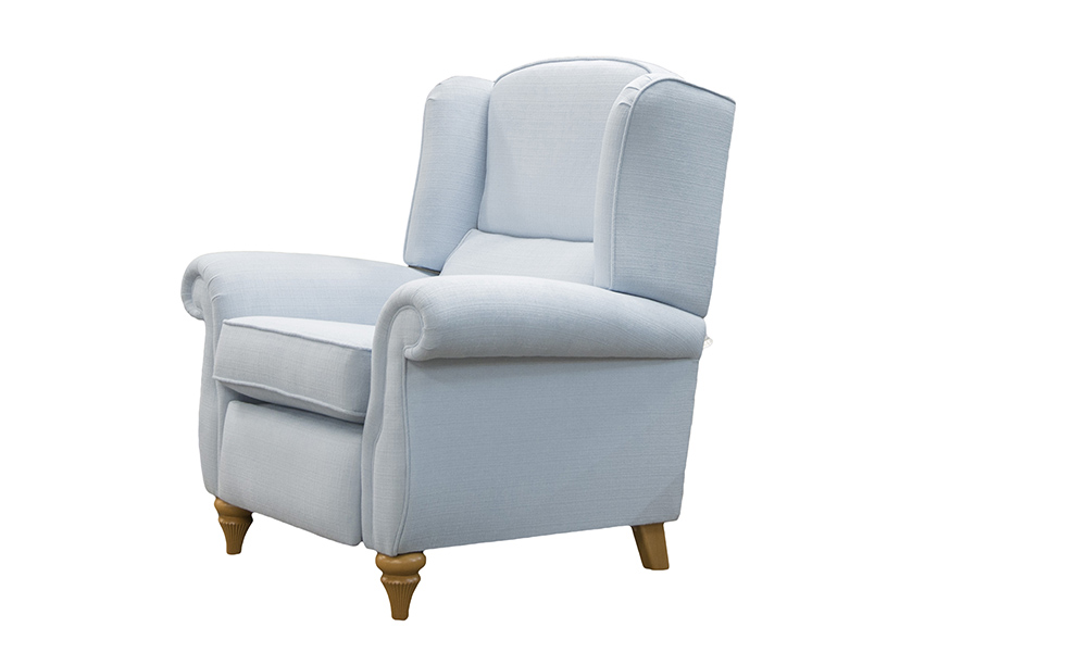 Greville Recliner Chair in JBrown Hendrix 605 Cornflower Plain