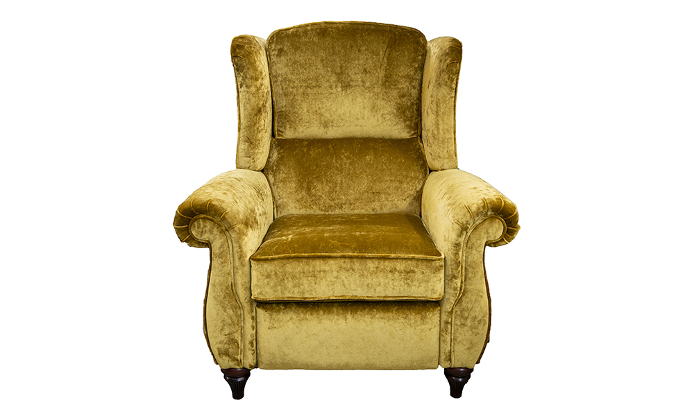 Greville Recliner Chair in Vstella Mustard, Silver Collection of Fabrics