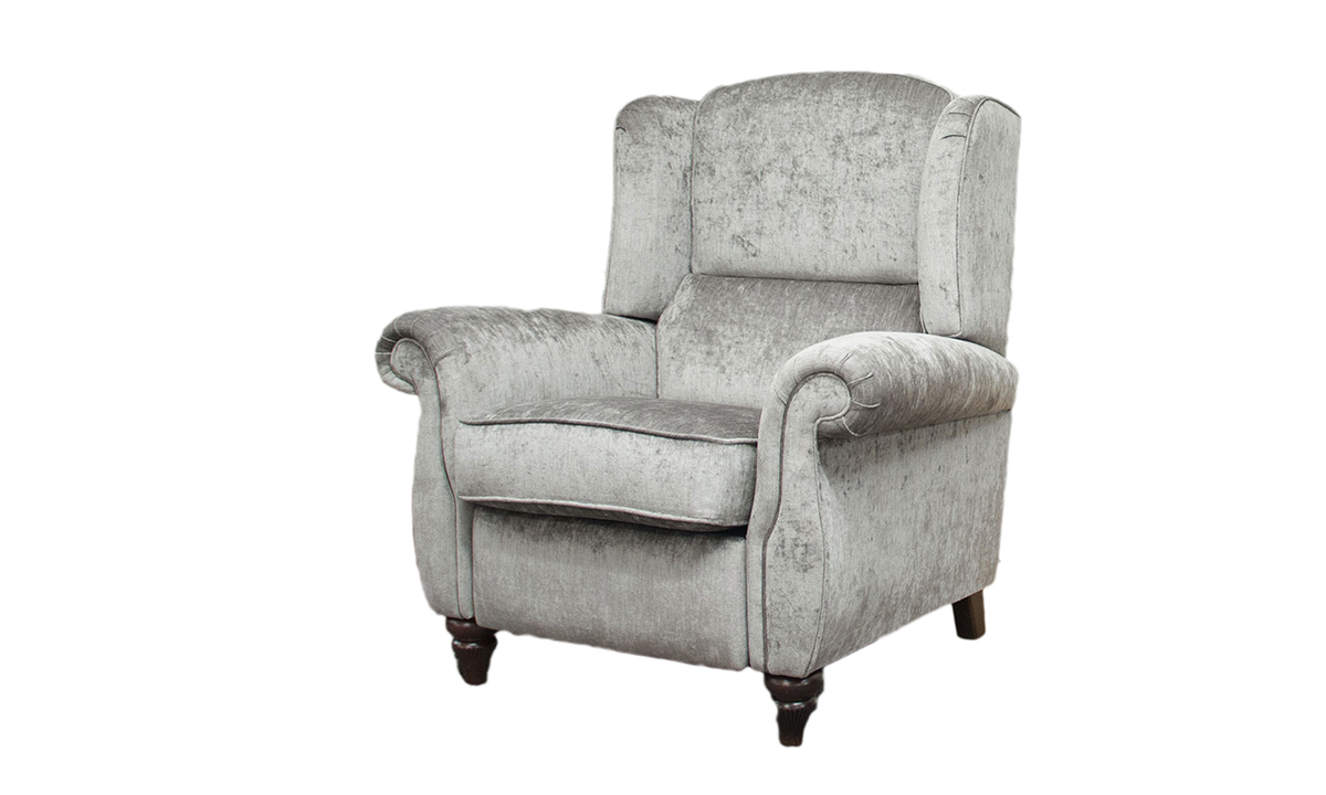 Greville Recliner Chair in Edinburgh Truffle, Silver Collection Fabric
