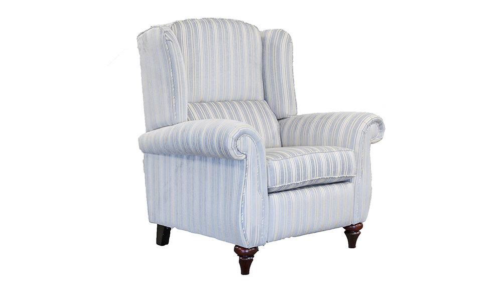Greville Recliner in Tolstoy Stripe Ocean, Platinium Collection Fabric