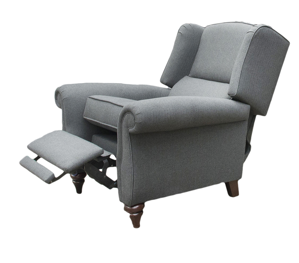 Recliner Greviile Chair Fully Extended - Tweed Charcoal