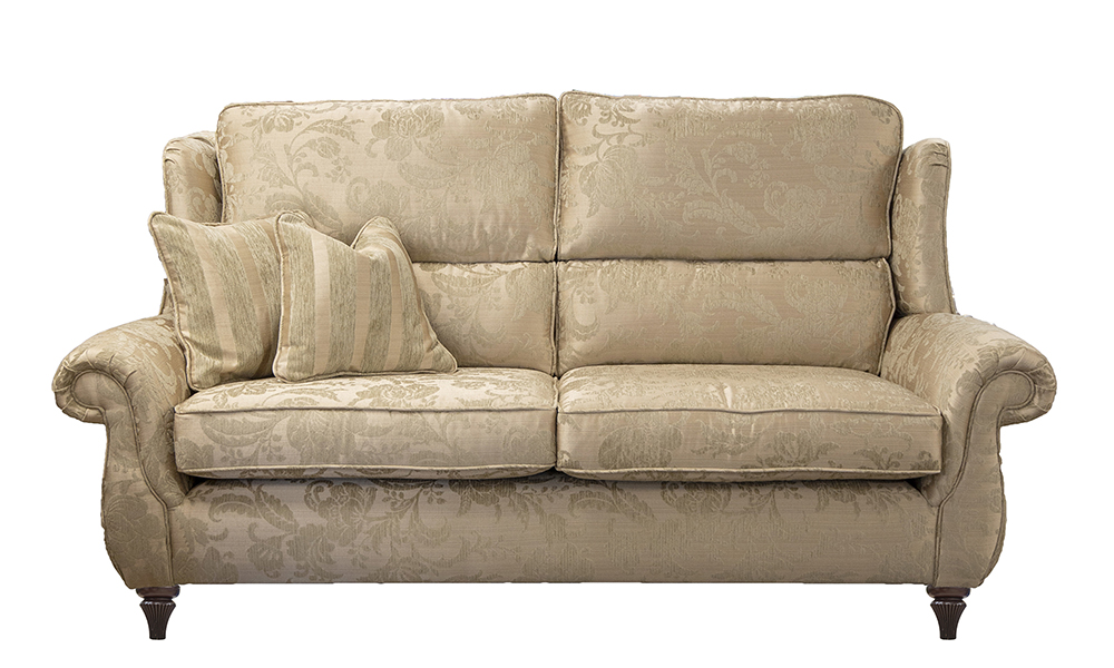 Greville 3 Seater Sofa in Burton Pattern Champagne, Silver Collection of Fabrics