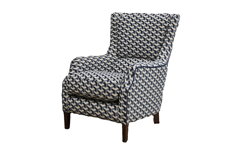 Harvard Chair in Levonne Navy, Silver Collection of Fabrics