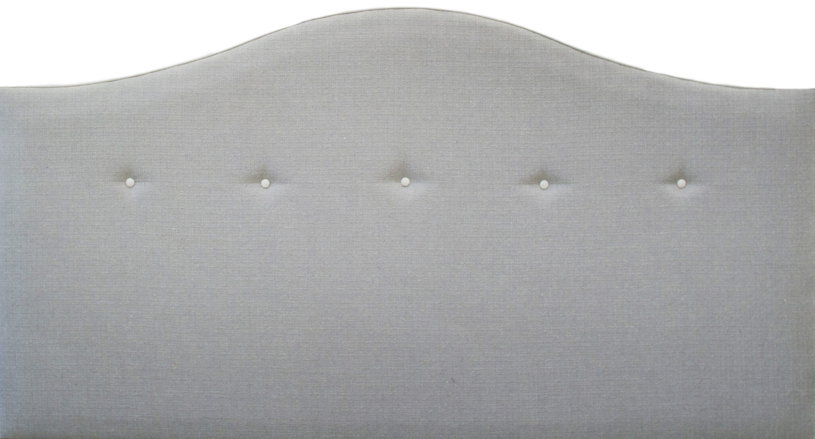 6ft Camel Headboard with Light Buttons – Silver Collection Fabric