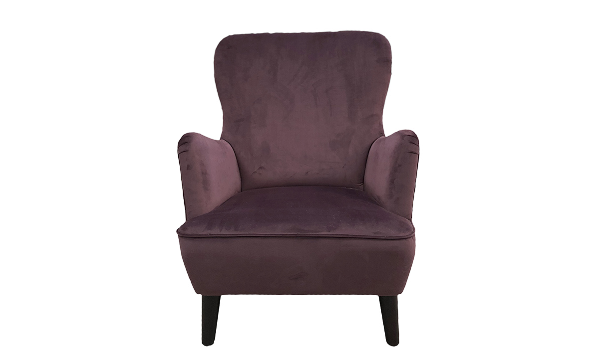Holly Chair in Luxor Aubergine , Silver Collection Fabric