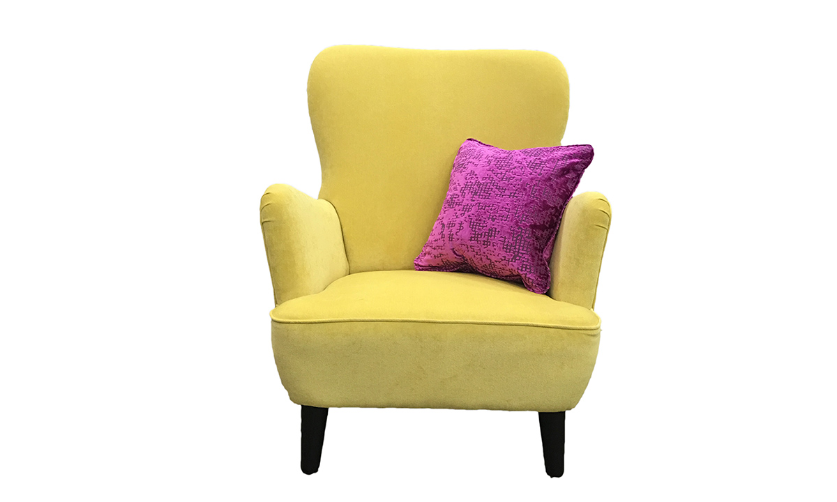 Holly Chair in Ross Pimlico Lemon - SR16155, Silver Collection Fabric