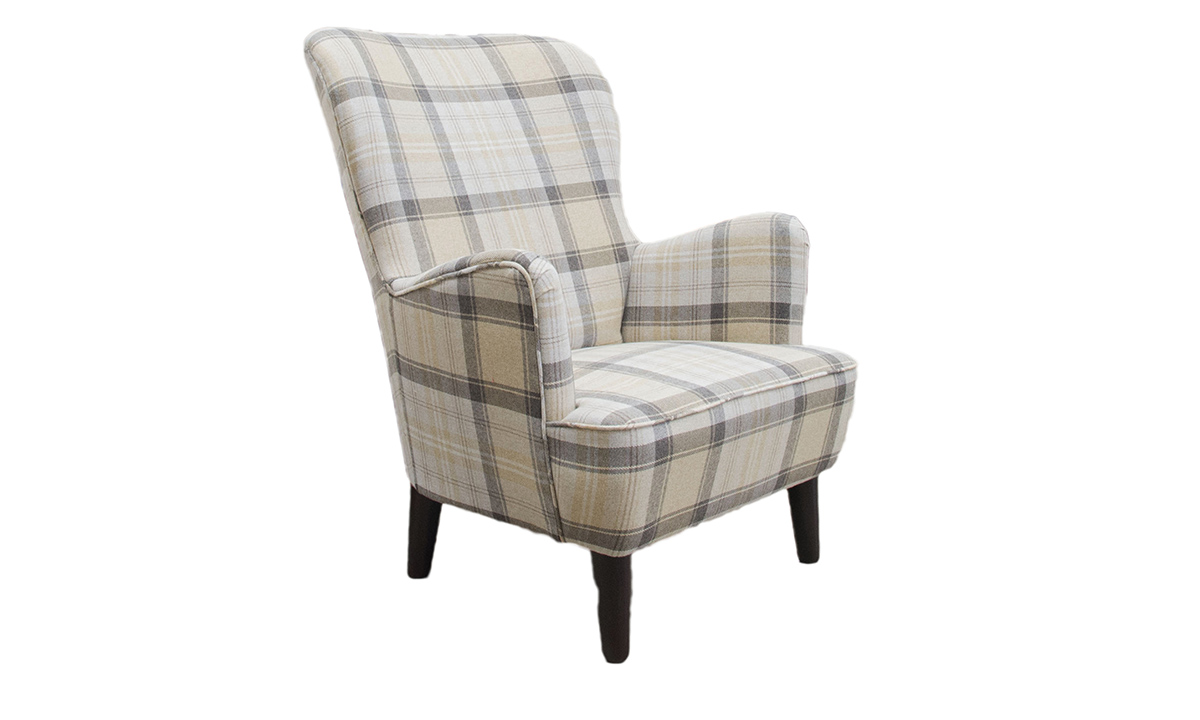 Holly Chair in  Aviemore Plaid Chocolate, Silver Collection Fabric