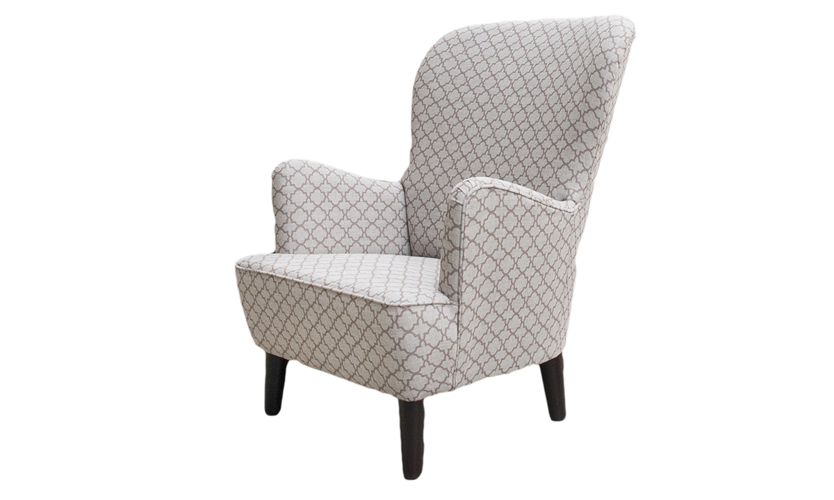 Holly Chair in Digital Trellis Taupe, Silver Collection Fabric