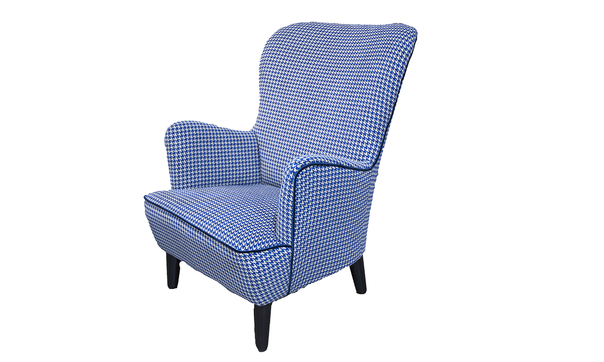 Holly Chair, in Poppy Navy, Silver Collection of Fabrics