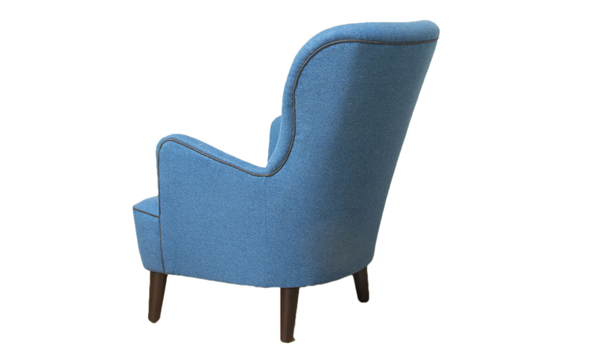 Holly Chair  in Tweed Navy, Silver Collection Fabric