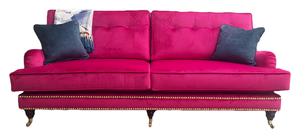 Holmes Grand Sofa with light button back  in Luxor Cerise Silver Collection Fabric