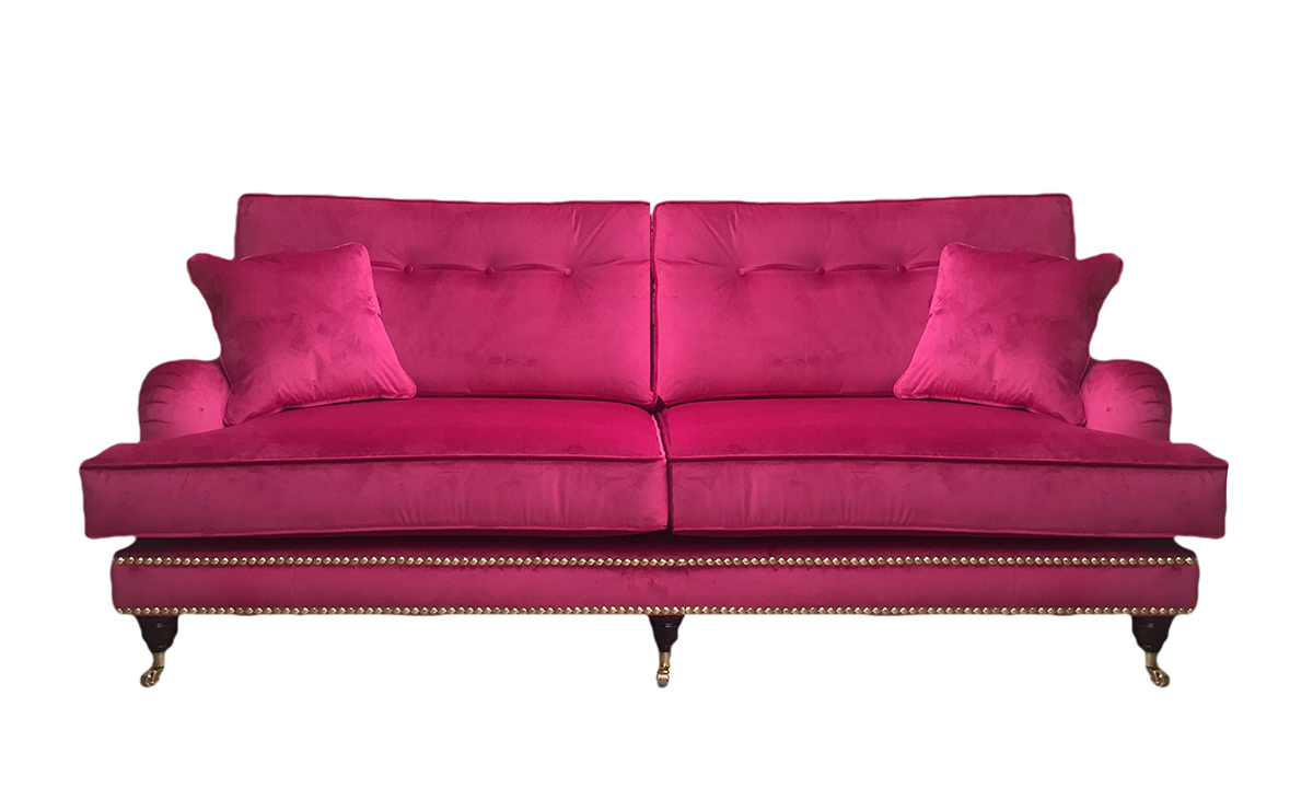 Bespoke Holmes Large Sofa in Luxor Cerise, Silver Collection Fabric