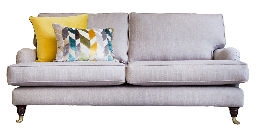 Holmes Large Sofa  in Aosta Silver  Silver Collection Fabric