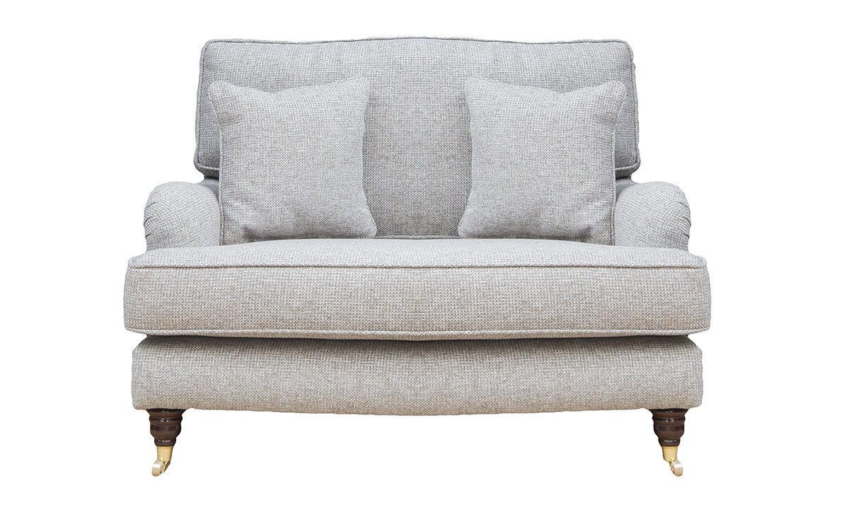 Holmes Love Seat in Milwalkeee Grey, Bronze Collection Fabric