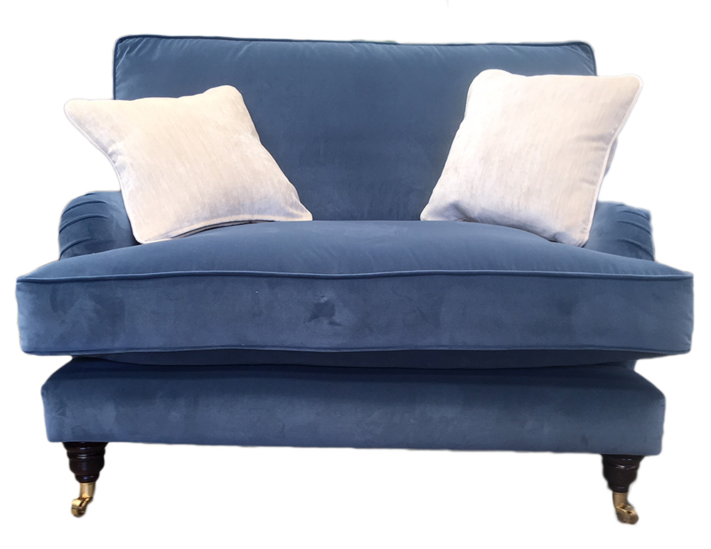 Holmes Loveseat in  Monza Sapphire with Fibre seat Interior  Platinum Collection Fabric