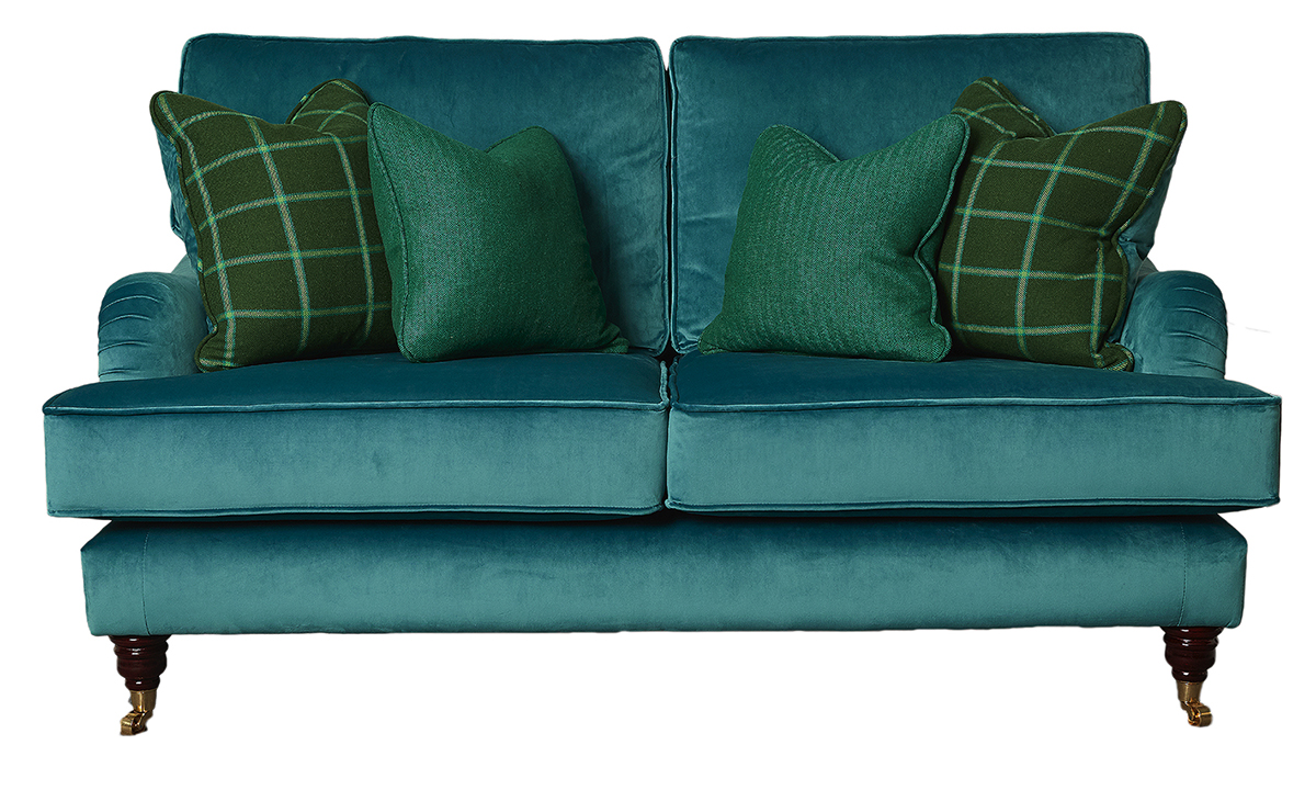 Holmes Small Sofa  Luxor Turquoise, Silver Collection Fabric