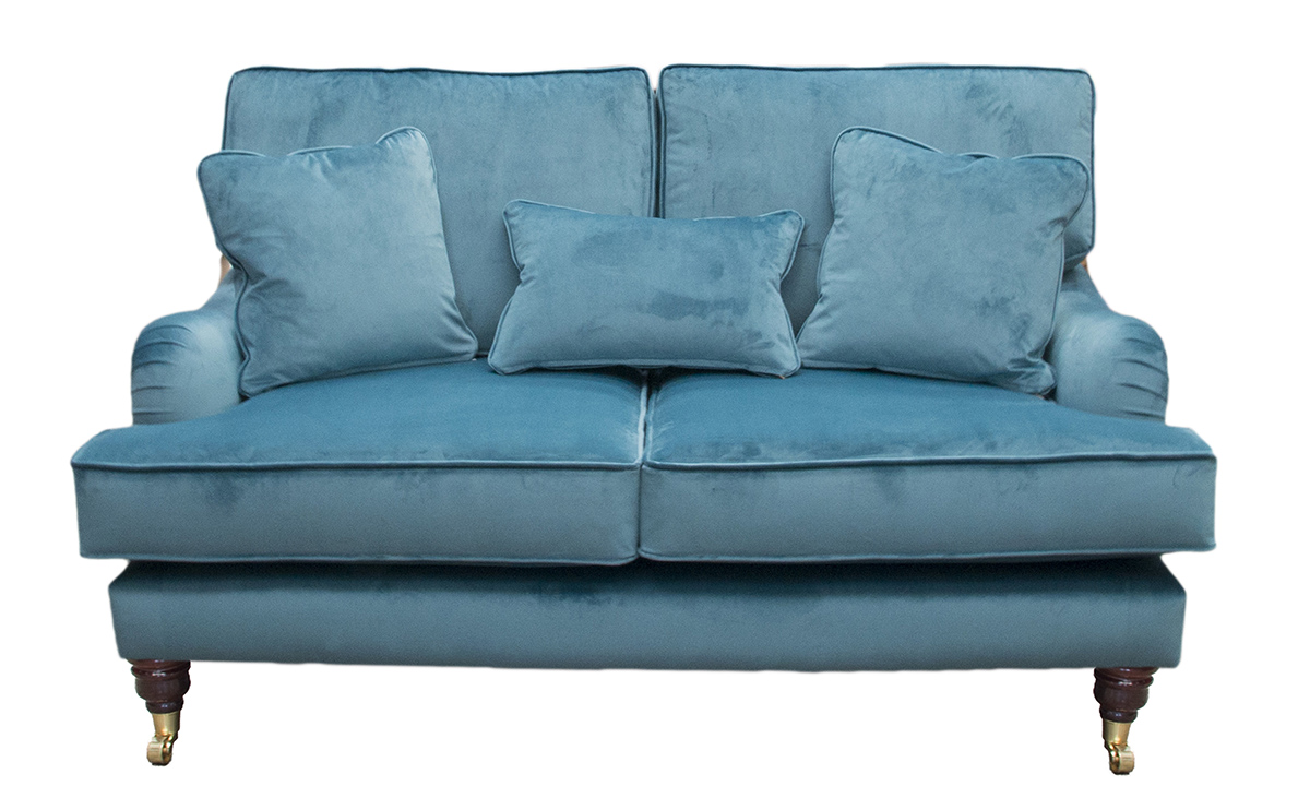 Holmes Small Sofa in Luxor Turquoise, Silver Collection Fabric