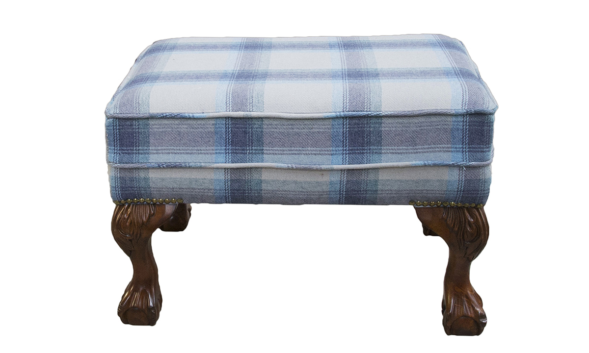 King Footstool in  Aviemore Plaid Wedgewood, Silver Collection Fabric