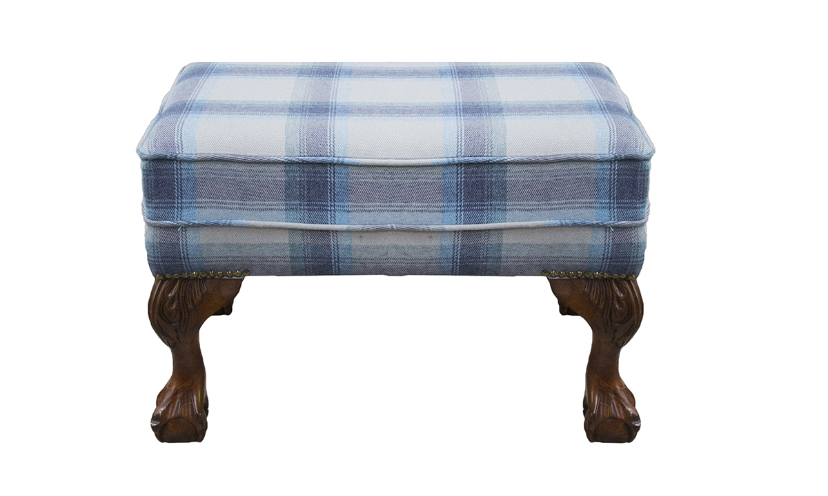 King Footstool in  Aviemore Plaid Wedgewood