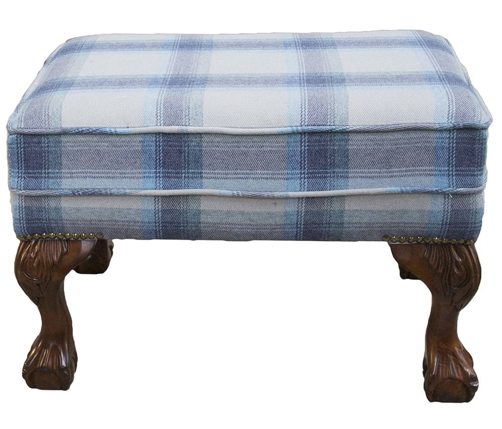 King Footstool  in Aviemore Plaid Wedgewood Silver Collection Fabric