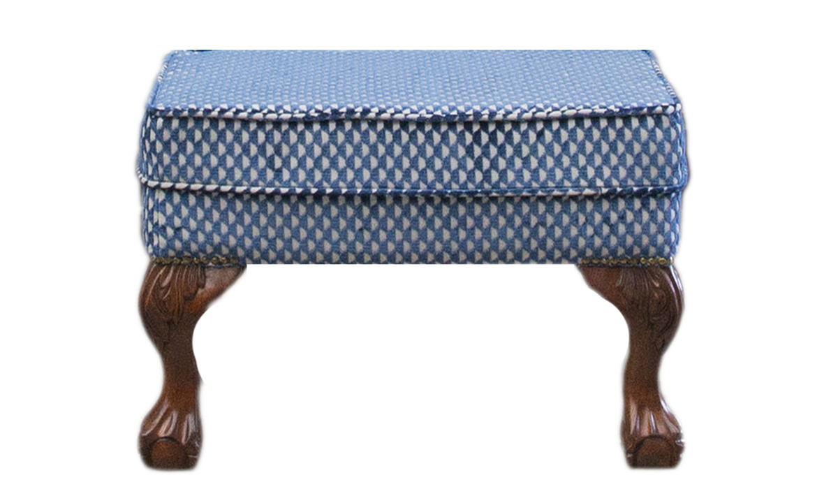 King Footstool in Pepino Indigo