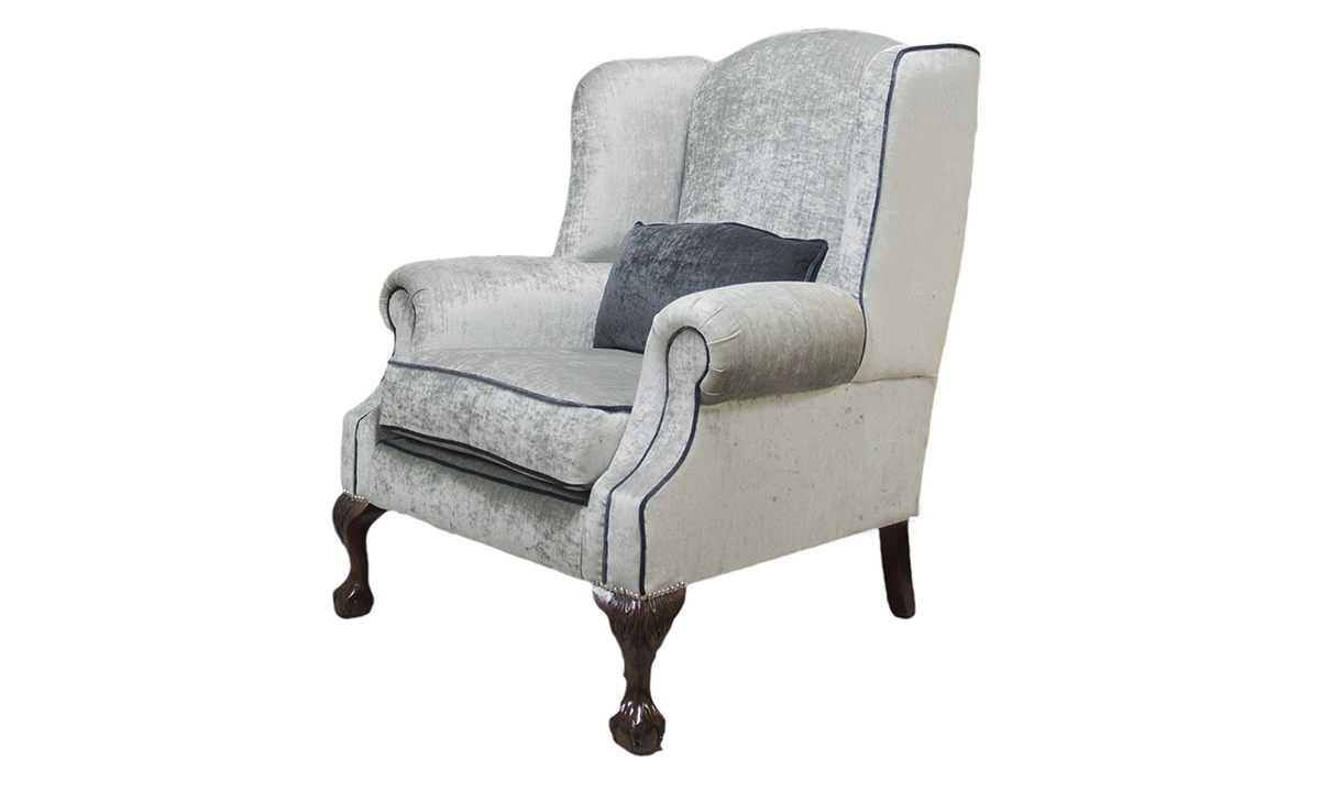 King Chair Side in Mancini Pewter Gold Collection Fabric