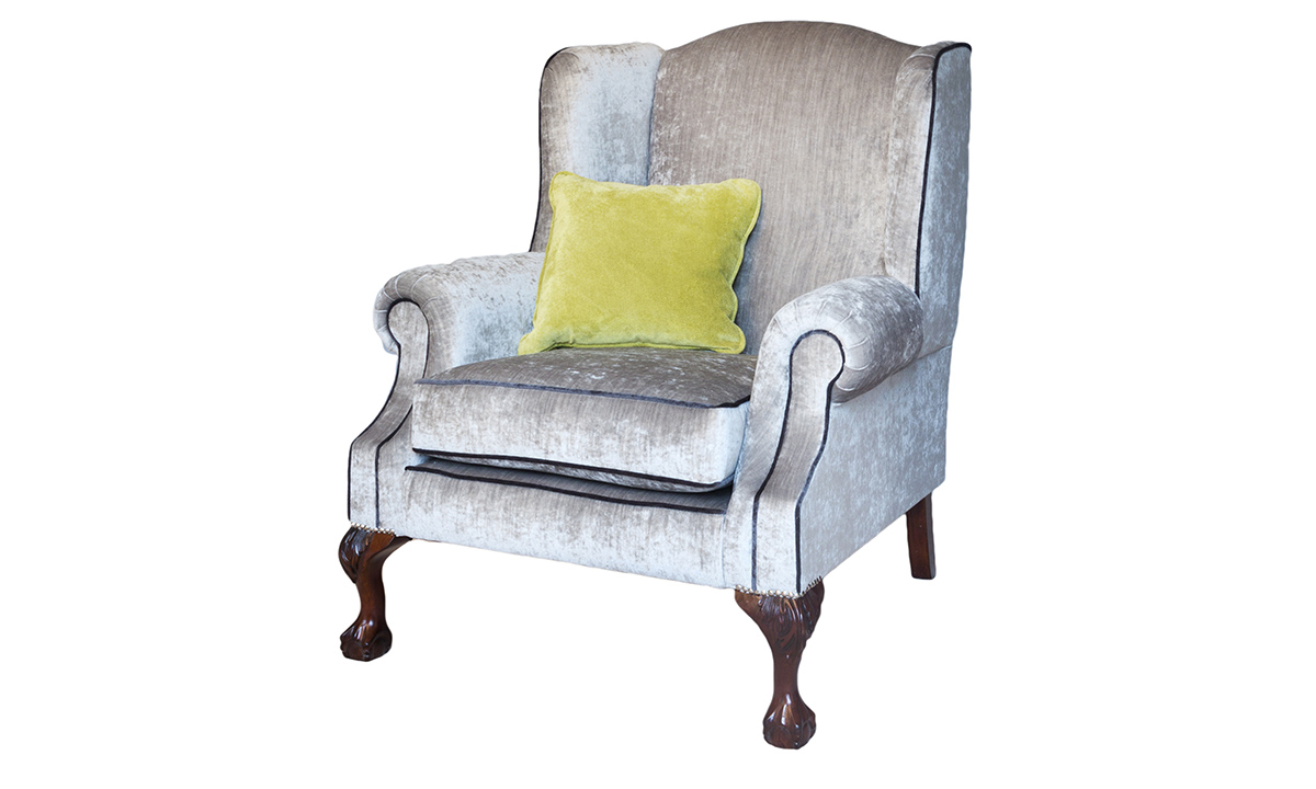 King Chair in Mancini Pewter with contrast piping – Gold Collection