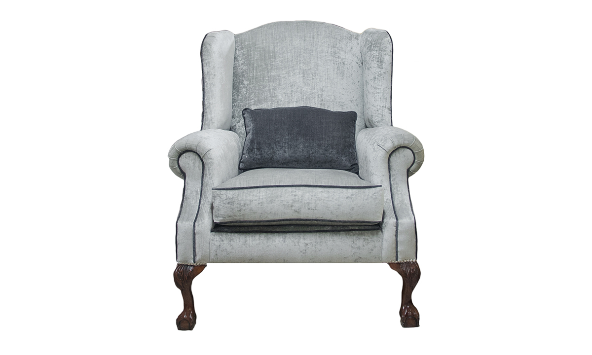 King Chair in Mancini Pewter Gold Collection Fabric