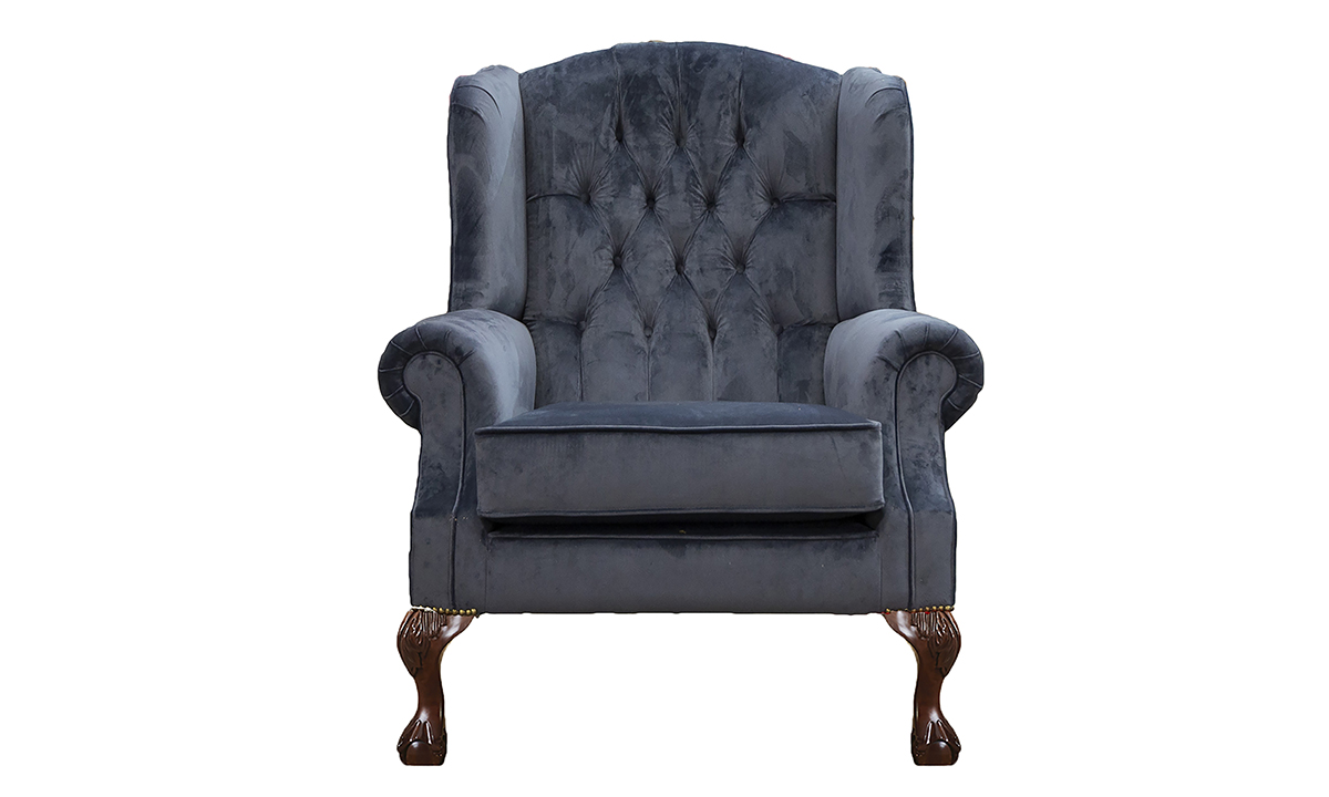 King-Chair-with-Deep-Button-back-in-Luxor-Tempest-Silver-Collection-Fabric