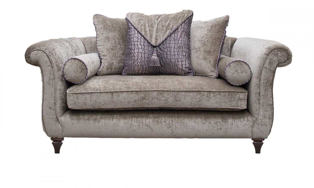 La Scala Small Sofa in Mancini Cappuccino, Envelope Cushions in Warwick Crocodile Mineral