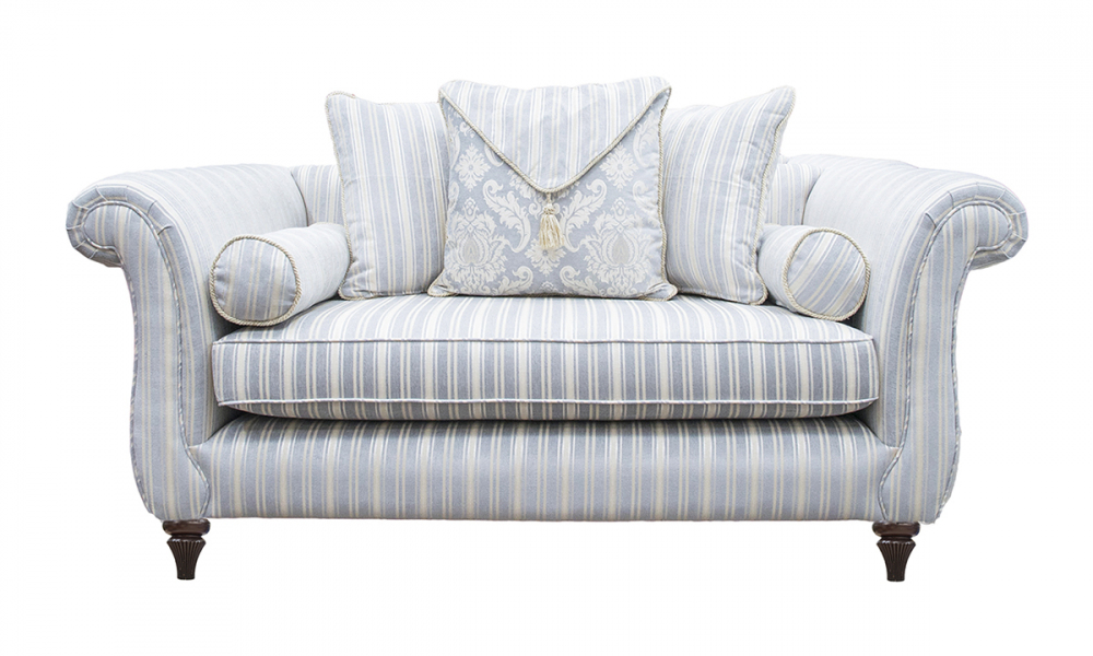 La Scala Small Sofa in Tolstoy Stripe Ocean, Platinum Collection Fabric