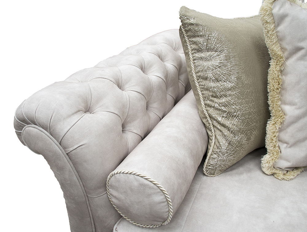 La Scala Large Sofa with Deep Button Arms  in Lovely Ivory Gold Collection Fabric