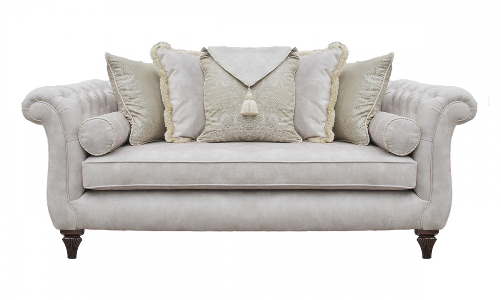 La Scala Large Sofa With Deep Button Arms in Lovely Ivory, Gold Collection Fabric