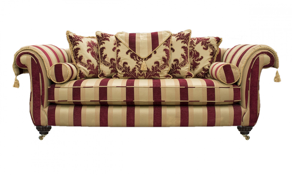 La Scala Sofa in Pendragon Stripe Merlot, Platinum Collection Fabric