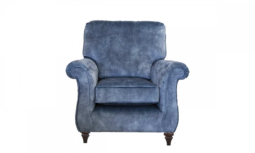 La Scala Chair -with Deep Buttons Arms in Lovely Atlantic Gold Collection Fabric
