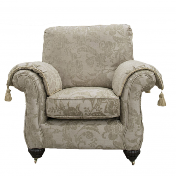 La Scala Chair in Burton Pattern Champagne, Silver Collection Fabric