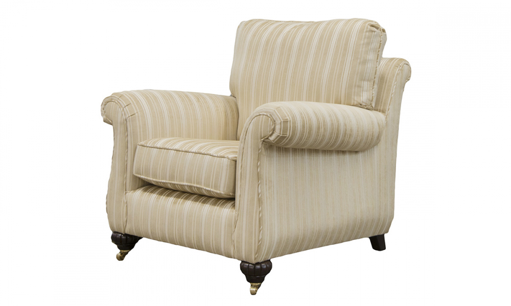La Scala Chair Side in Tolstoy Straw, Stripe Platinum Collection Fabric
