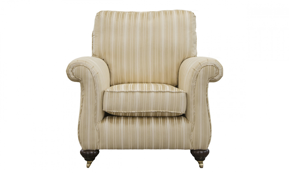 La Scala Chair in Tolstoy Straw Stripe, Platinum Collection Fabric